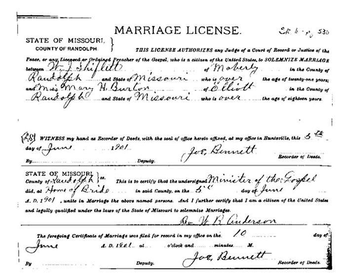 Marriage Certificates From Missouri Shiflett Burnard And Agnes White George Samuel Virginia Lee Morris